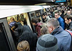 Crowded subway car, exposure to flu
