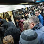 crowded subway - Influenza prevention
