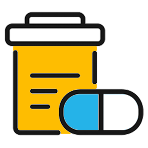 Get treatment and prescriptions online. Drawing of a prescription bottle and capsule