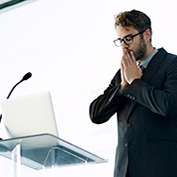 Man with performance anxiety about to make speech